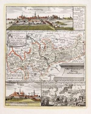 BRZEG, OŁAWA. Panorama miasta autorstwa Friedricha Bernharda Wernera, poniżej ...