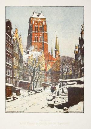 GDAŃSK. Bazylika Mariacka widziana od str. ulicy Piwnej w czasie zimy, rys. ...