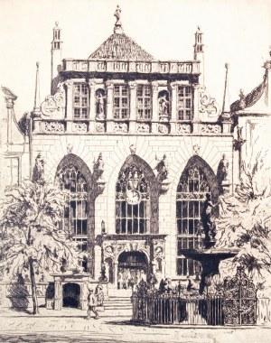 GDAŃSK. Dwór Artusa, rys. i lit. Berthold Hellingrath, Gdańsk 1925; w dole ...