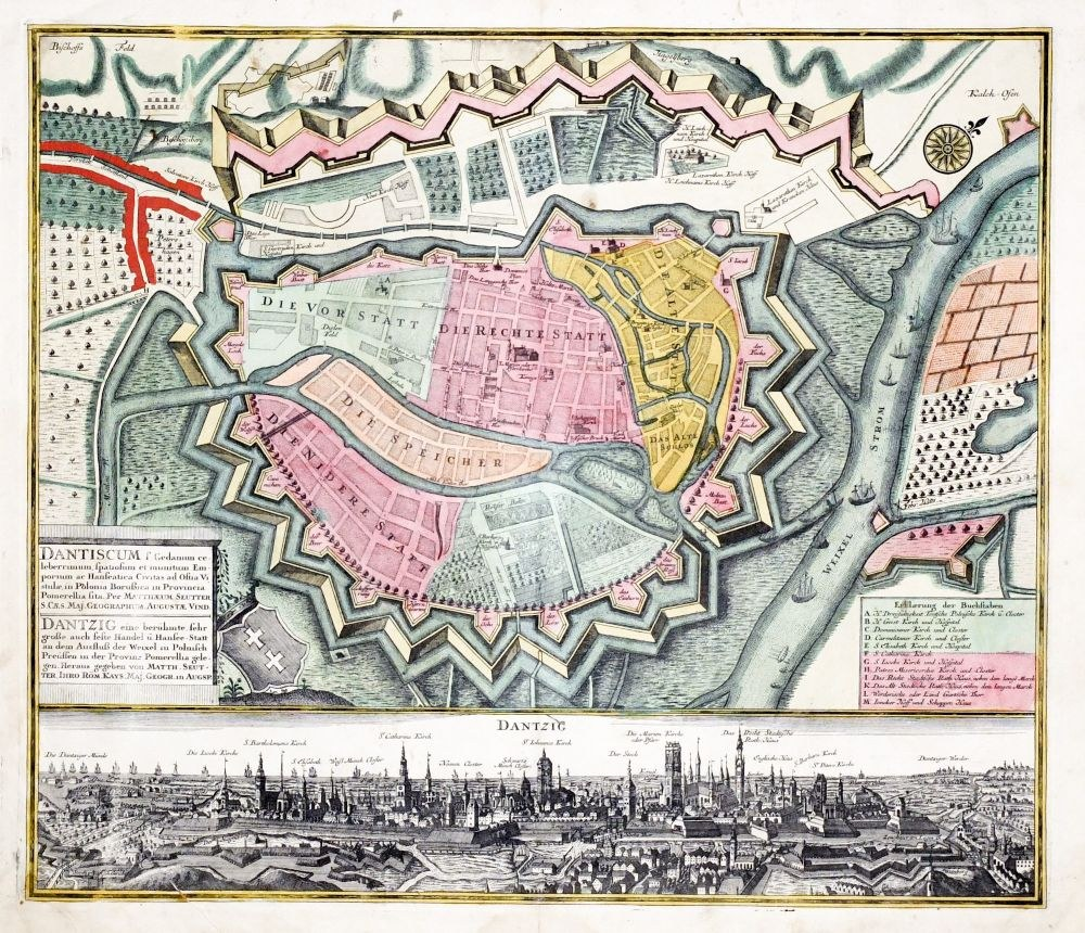 GDAŃSK. Plan miasta, wyd. Matthäus Seutter, Augsburg, ok. 1735; jedno z ...