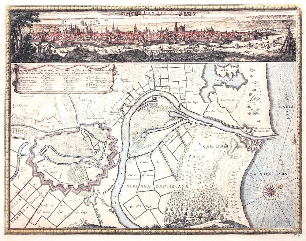 GDAŃSK. Plan miasta z mapą najbliższej okolicy, ujściem Wisły i Twierdzą ...