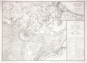 GDAŃSK. Uproszczony plan miasta z mapą okolicy w czasie oblężenia Gdańska w ...