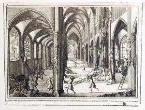 GDAŃSK. Scena plądrowania przez luteran kościoła św. Józefa i klasztoru ...