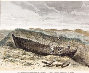 GDAŃSK. Wydobycie 600-letniego wraku łodzi na gdańskiej plaży, rys. M. ...