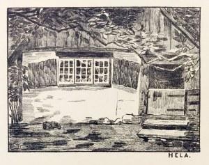 HEL. Domek rybacki, monogramista F.A., ok. 1910; lit. cz.-b., st. bdb., ...