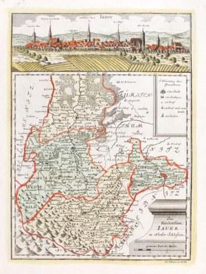 JAWOR. Panorama miasta autorstwa Friedricha Bernharda Wernera, poniżej mapa ...