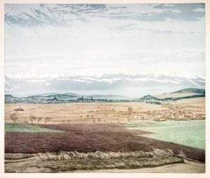 JELENIA GÓRA. Panorama miasta ze Śnieżką, ryt. Friedrich Iwan, okres ...