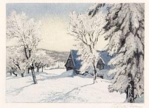 KARKONOSZE. Zestaw 4 pięknych widoków Karkonoszy w czasie zimy, rys. i ryt. ...