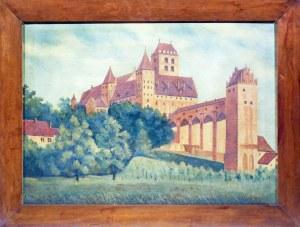 KWIDZYN. Widok zamku, sygn. w prawym dolnym rogu W. Grund, II poł. XIX w.; ...