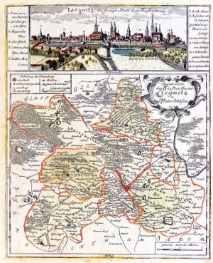 LEGNICA. Panorama miasta autorstwa Friedricha Bernharda Wernera, poniżej mapa ...