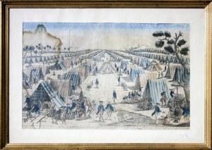 LĘBORK. Wojska pruskie w obozie pod Lęborkiem, anonim, Paryż, ok. 1750; miedz. ...