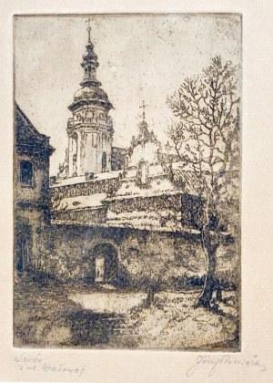LWÓW. Widok na kościół św. Andrzeja i klasztor bernardynów z ulicy Wałowej, ...