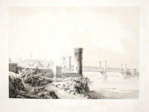 MALBORK. Most na Nogacie, w głębi zamek, rys. i lit. Julius Greth, druk. bracia ...