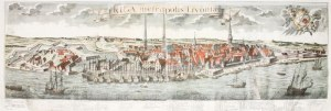RYGA. Rozległa panorama miasta z zaznaczonymi ważniejszymi budynkami, rys. F.I. ...