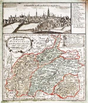ŚWIDNICA. Panorama miasta autorstwa Friedricha Bernharda Wernera, poniżej mapa ...