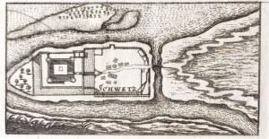 ŚWIECIE. Plan zamku krzyżackiego, anonim, ok. 1650; miedz. cz.-b., st. bdb., ...
