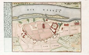 WARSZAWA. Plan miasta, ryt. i wyd. Gabriel Bodenehr II, Augsburg, ok. 1740; na ...