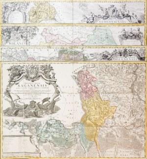 GŁOGÓW, OLEŚNICA, WOŁÓW, ŻAGAŃ. Zestaw 4 map pochodzących z Atlas Silesiae...., ...