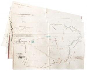 NIEPOGLĘDZIE, pow. słupski, BYTÓW. Zestaw 5 rękopiśmiennych map stanowiących ...