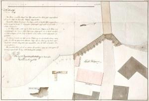 PODGÓRZE k. Krakowa. Plan budowy wału nadrzecznego, opatrzony urzędowym opisem, ...