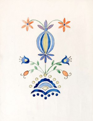 KASZUBY. 4 arkusze przedstawiające różne wzory haftu kaszubskiego, malował Jan ...