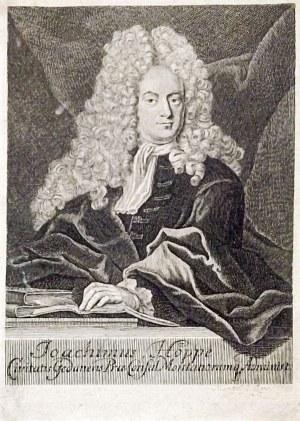 GDAŃSK – JOACHIM HOPPE; półpostać, ryt. Johann Georg Mentzel, Lipsk ok. 1740; ...