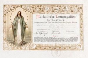 BYDGOSZCZ, BERLIN. Świadectwo przynależności do Kongregacji Mariańskiej, ...