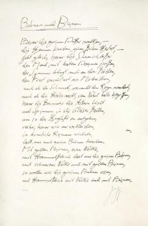 GDAŃSK. Faksymile wiersza autorstwa Güntera Grassa (1927-2015), pt. Bohnen und ...