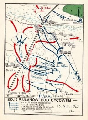LONDYN, CYCÓW. Zestaw 2 kart pocztowych: 1) plan bitwy pod Cycowem (16 VIII ...
