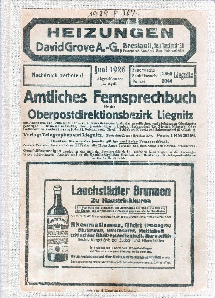 LEGNICA. Amtliches Fernsprechbuch für den Oberpostdirektionsbezirk Liegnitz, ...