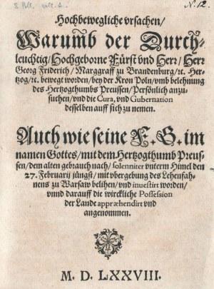 PRUSY KSIĄŻĘCE, HOŁD PRUSKI. Jerzy Fryderyk Hohenzollern, Hochbewegliche ...