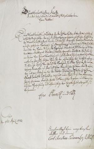 OLEŚNICA. List księcia oleśnickiego Karola Krystiana Erdmana (1716-1792) do ...