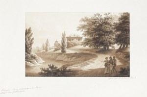 KRZEWIN. Widok na pałac Jabłonowskich; piórko, pędzel; wymiary: 195x315 mm. Po ...
