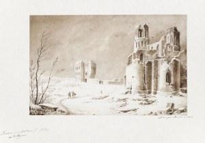 OSTRÓG. Widok na ruiny zamku; akwarela, piórko, ołówek; wymiary: 200x310 mm. Po ...
