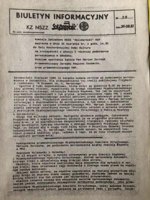 Biuletyn Informacyjny KZ NSZZ SOLIDARNOŚĆ, nr 20, 26 sierpnia 1981