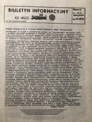 Biuletyn Informacyjny KZ NSZZ SOLIDARNOŚĆ, nr 23, wydanie specjalne, 14 września 1981