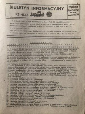 Biuletyn Informacyjny KZ NSZZ SOLIDARNOŚĆ, nr 16/1, wydanie specjalne, 23 lipca 1981
