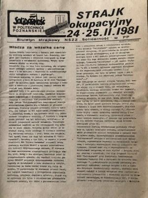 Biuletyn Strajkowy, SOLIDARNOŚĆ w Politechnice Poznańskiej, wydanie nadzwyczajne, 24-25 lutego 1981