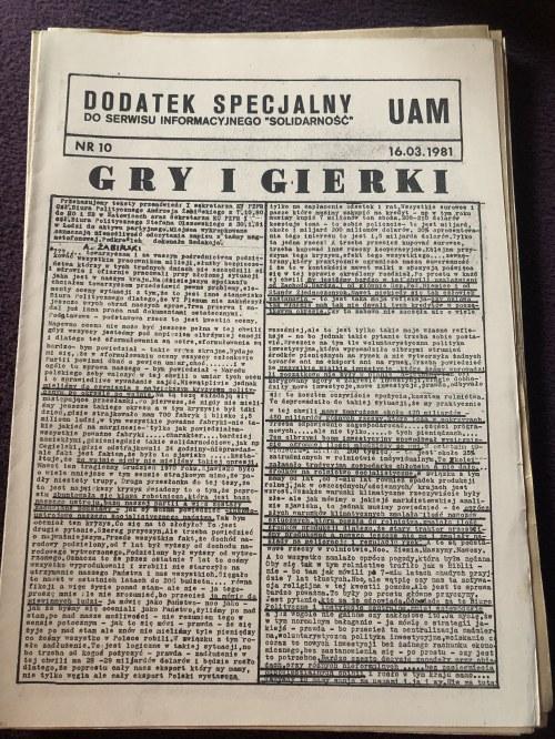 Dodatek Specjalny UAM do serwisu informacyjnego SOLIDARNOŚĆ, nr 10, 16 marca 1981