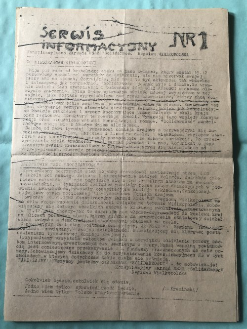 Serwis Informacyjny Konspiracyjnego Zarządu NSZZ SOLIDARNOŚĆ, Region Wielkopolska, nr 1, 1982
