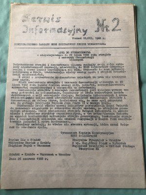 Serwis Informacyjny Konspiracyjnego Zarządu NSZZ SOLIDARNOŚĆ, Region Wielkopolska, nr 2, 12 lipca 1982