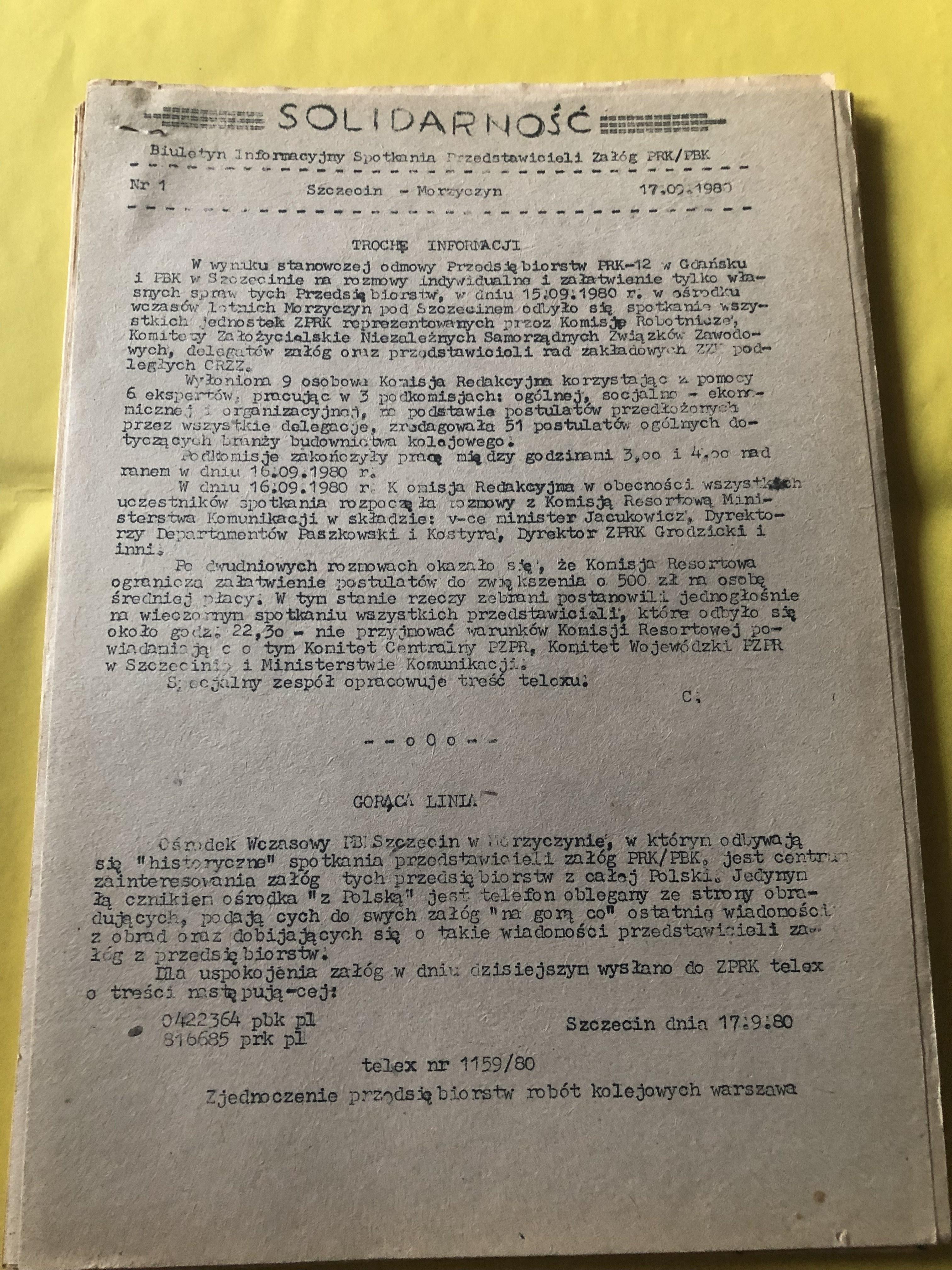 Solidarność, Biuletyn Informacyjny Spotkania Przedstawicieli Załóg PRK/PBK, Nr 1, Szczecin-Morzyczyn, 17 września 1980