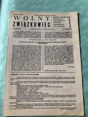 Wolny Związkowiec, Biuletyn Informacyjny NSZZ Huta Katowice, nr 8/81, 30 stycznia 1981