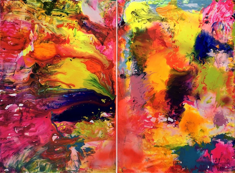 Gossia Zielaskowska, Color Rain Map (dyptyk), 2019