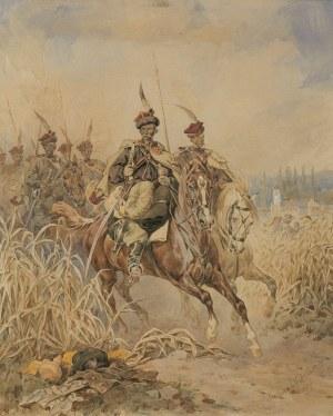 Kossak Juliusz, ODDZIAŁ JEŹDŹCÓW. UŁANI GALICYJSCY, 1879