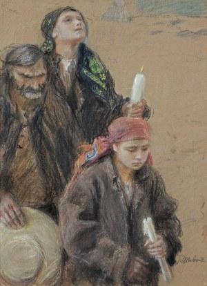 Axentowicz Teodor, POWRÓT Z CERKWI, OK. 1910
