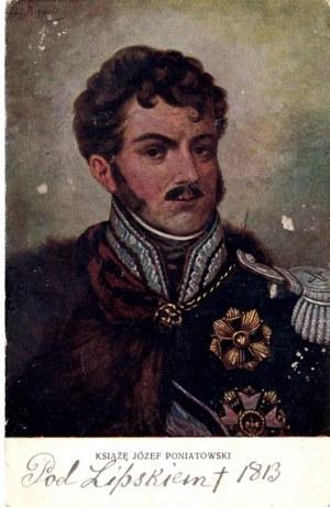 POCZTÓWKA. KSIĄŻĘ JÓZEF PONIATOWSKI. POD LIPSKIEM 1813.