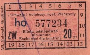 PRZEDWOJENNY BILET. Tramwaje i Autobusy m.st. Warszawy. 20gr. Wł. Kulerski, Grudziądz.