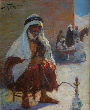 Abraham Behrman (1876-1942), Jericho[Palący fajkę]