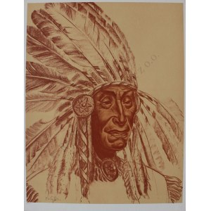 "Bolesław Cybis wg (1895-1957), Silent Thoughts. Shoshone(z teki ""Folio One of American Indian"", 1970, no 258/1000)"